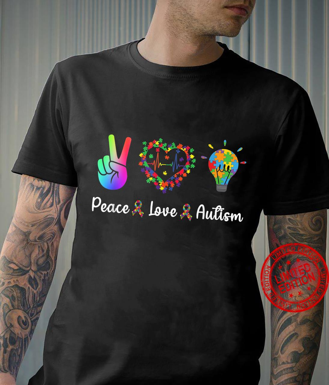 Peace Love Autism Puzzle Ribbon for Autism Awareness Day Shirt