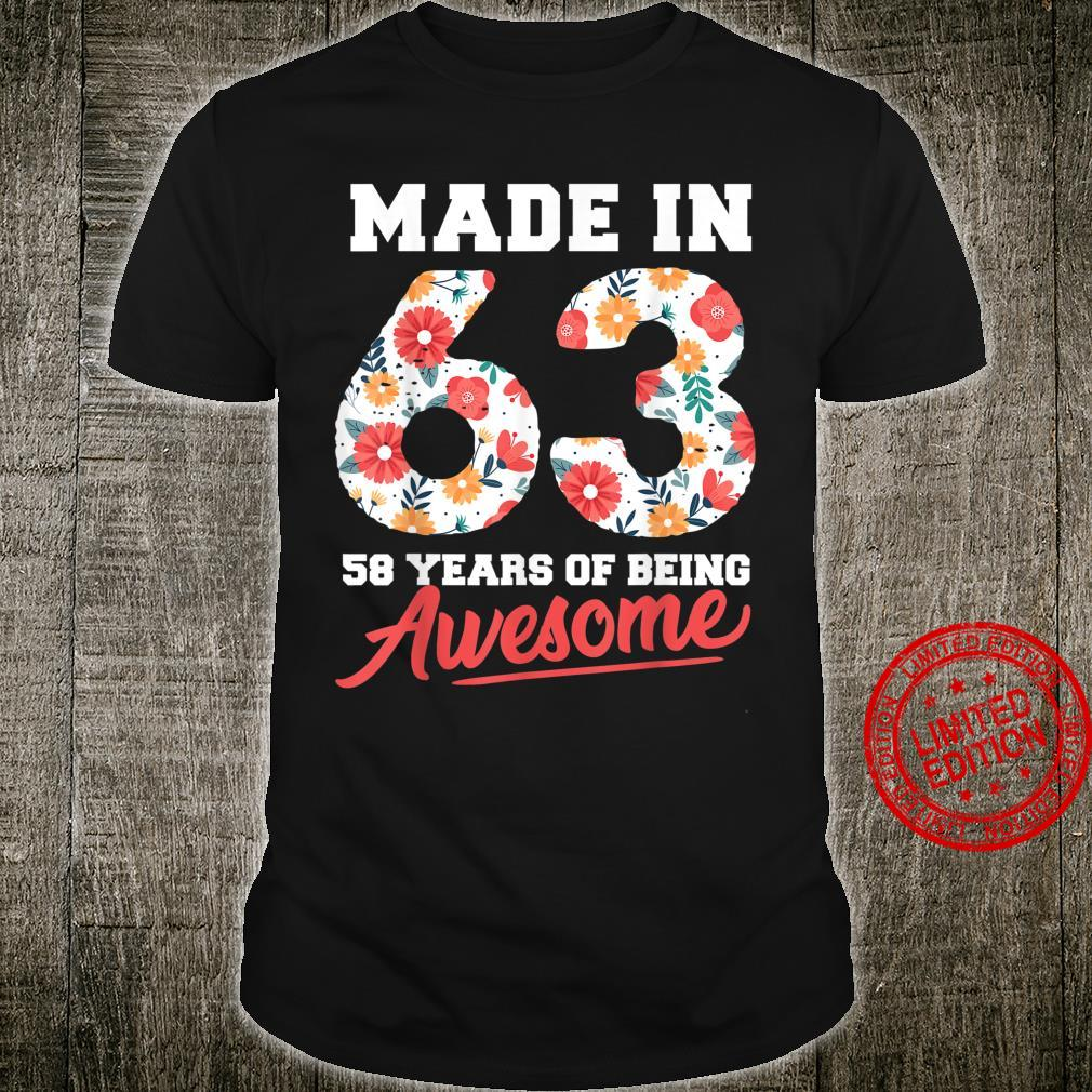 58 Years Old 58th Birthday Awesome Floral Made 1963 Shirt
